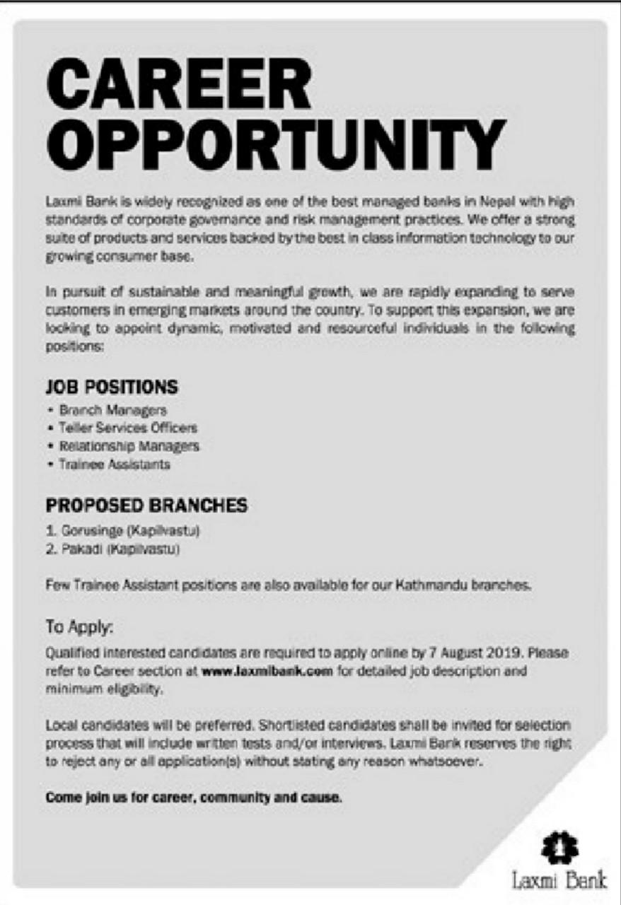 CAREER OPPORTUNITY in LAXMI BANK | EdTecInfo